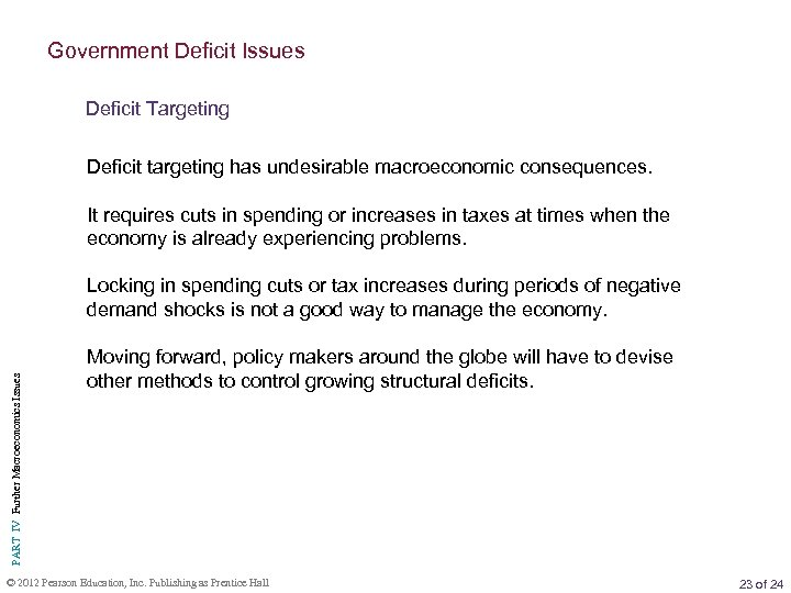 Government Deficit Issues Deficit Targeting Deficit targeting has undesirable macroeconomic consequences. It requires cuts