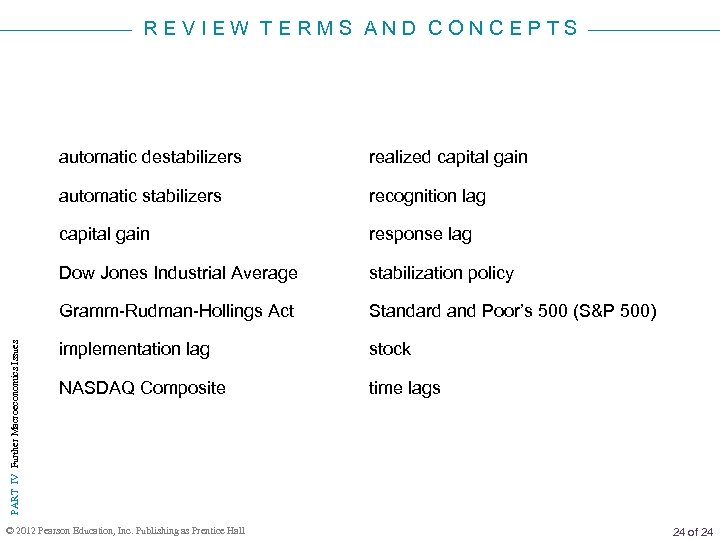 REVIEW TERMS AND CONCEPTS realized capital gain automatic stabilizers recognition lag capital gain response