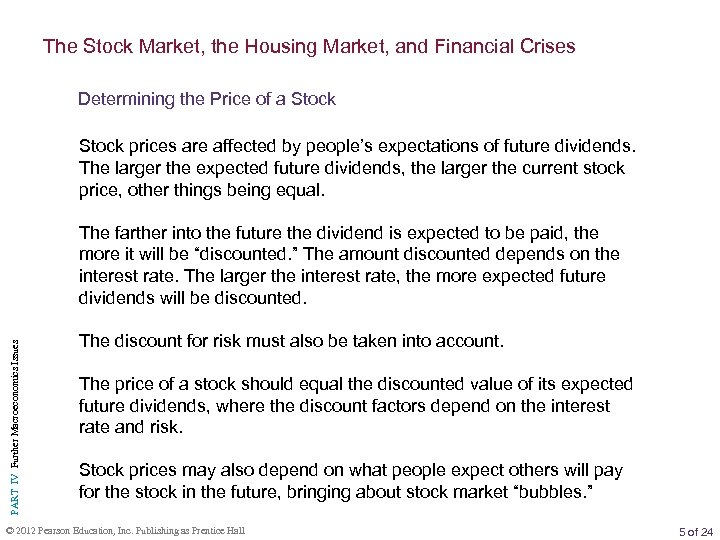 The Stock Market, the Housing Market, and Financial Crises Determining the Price of a