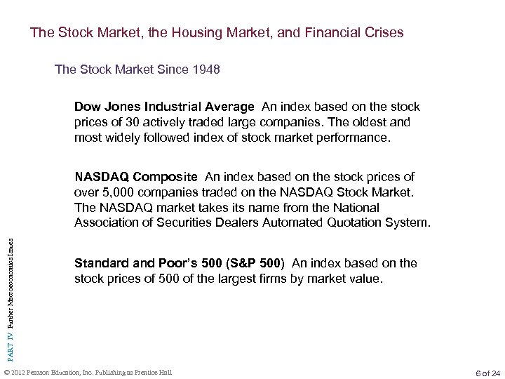 The Stock Market, the Housing Market, and Financial Crises The Stock Market Since 1948