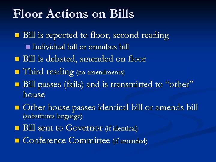 Floor Actions on Bills n Bill is reported to floor, second reading n Individual