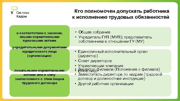 Кто полномочен допускать работника к исполнению трудовых обязанностей в соответствии с законом, иными нормативными