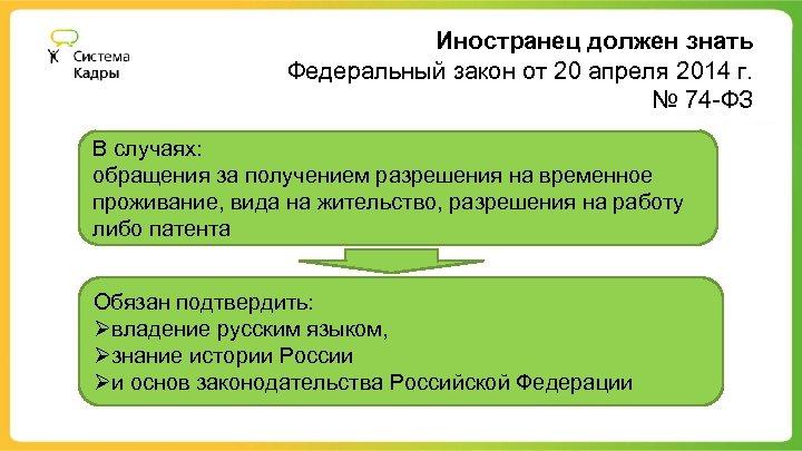 Иностранец должен знать Федеральный закон от 20 апреля 2014 г. № 74 -ФЗ В