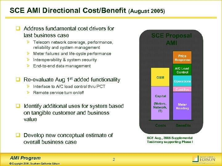 SCE AMI Directional Cost/Benefit (August 2005) q Address fundamental cost drivers for last business