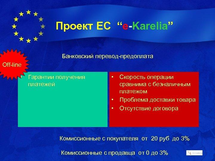 """Проект ЕС """"e-Karelia"""" Банковский перевод-предоплата Off-line • Гарантии получения платежей • Скорость операции сравнима"""
