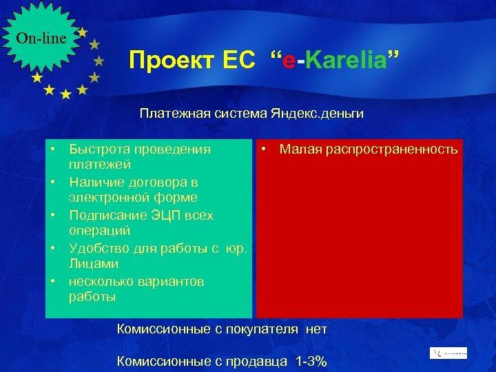 """On-line Проект ЕС """"e-Karelia"""" Платежная система Яндекс. деньги • Быстрота проведения • Малая распространенность"""