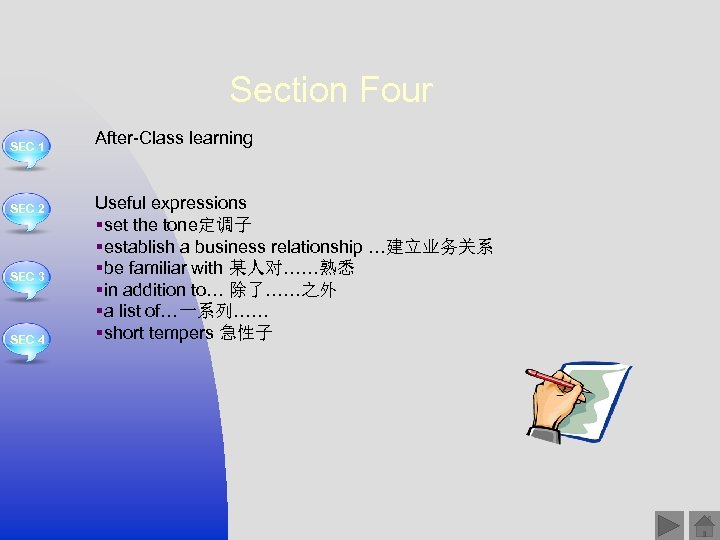 Section Four SEC 1 SEC 2 SEC 3 SEC 4 After-Class learning Useful expressions