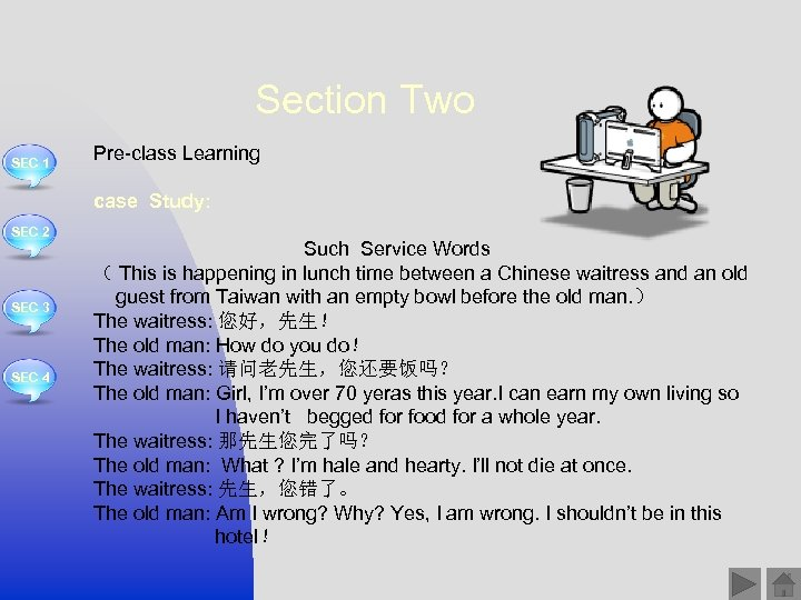 Section Two SEC 1 Pre-class Learning case Study: SEC 2 SEC 3 SEC 4