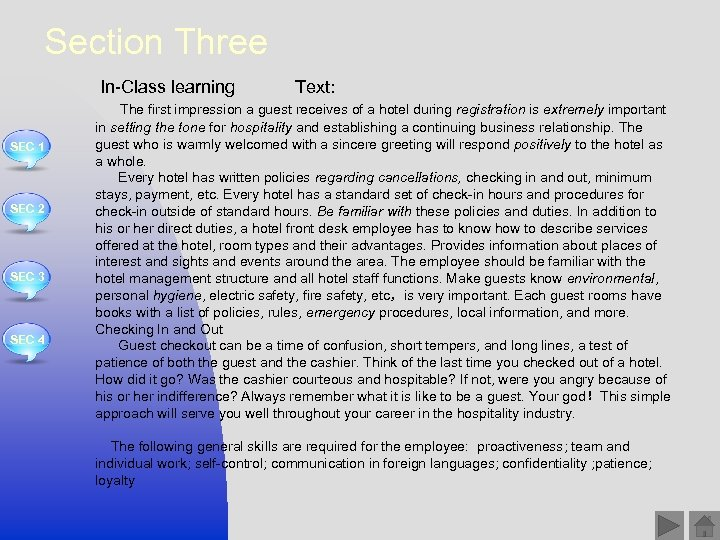 Section Three In-Class learning SEC 1 SEC 2 SEC 3 SEC 4 Text: The