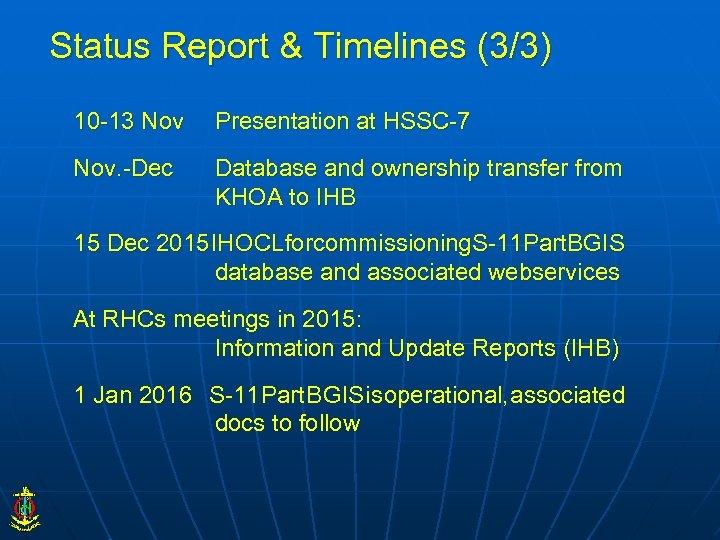 Status Report & Timelines (3/3) 10 -13 Nov Presentation at HSSC-7 Nov. -Dec Database