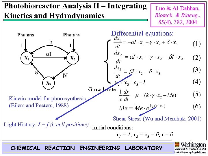 Photobioreactor Analysis II – Integrating Kinetics and Hydrodynamics Luo & Al-Dahhan, Biotech. & Bioeng.
