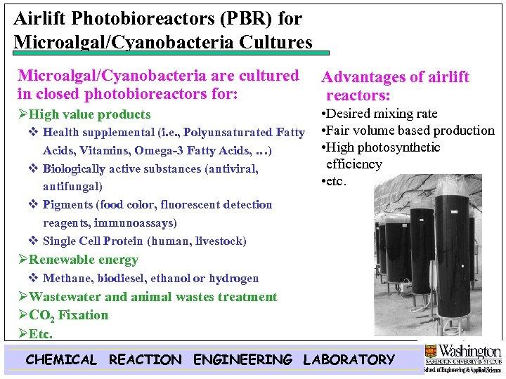 Airlift Photobioreactors (PBR) for Microalgal/Cyanobacteria Cultures Microalgal/Cyanobacteria are cultured in closed photobioreactors for: Advantages