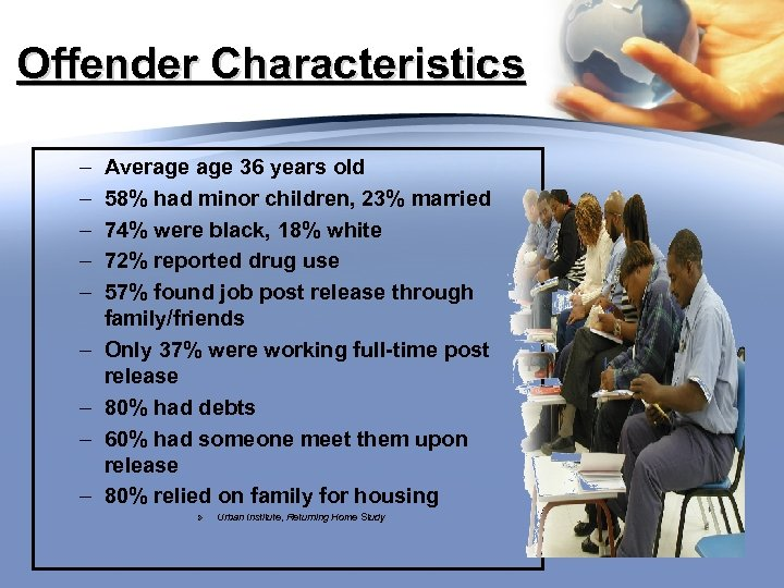 Offender Characteristics – – – – – Average 36 years old 58% had minor
