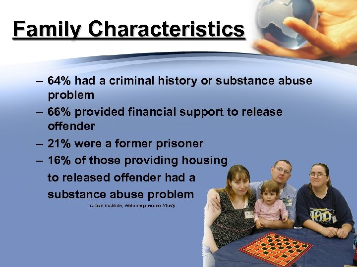 Family Characteristics – 64% had a criminal history or substance abuse problem – 66%