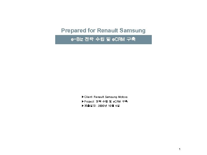 Prepared for Renault Samsung e-Biz 전략 수립 및 e. CRM 구축 ▶Client: Renault Samsung