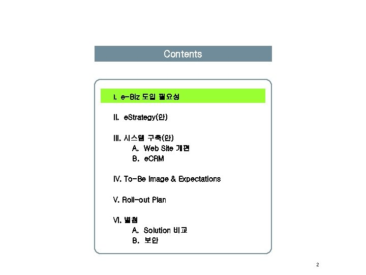 Contents I. e-Biz 도입 필요성 II. e. Strategy(안) III. 시스템 구축(안) A. Web Site