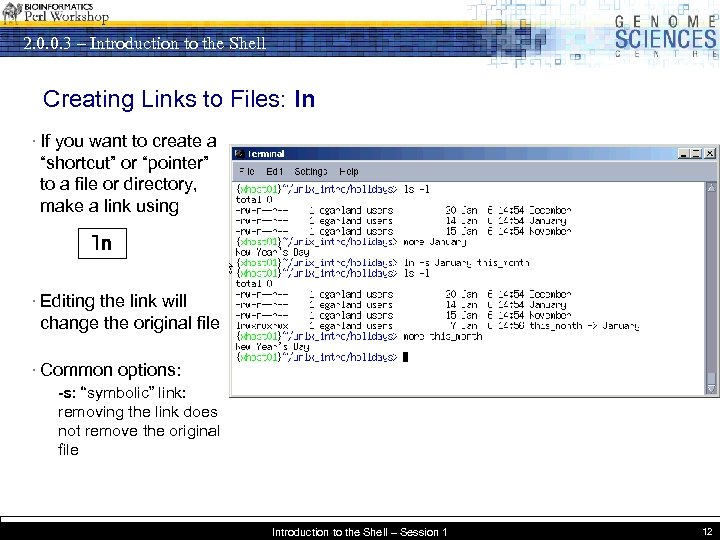 2. 0. 0. 3 – Introduction to the Shell Creating Links to Files: ln