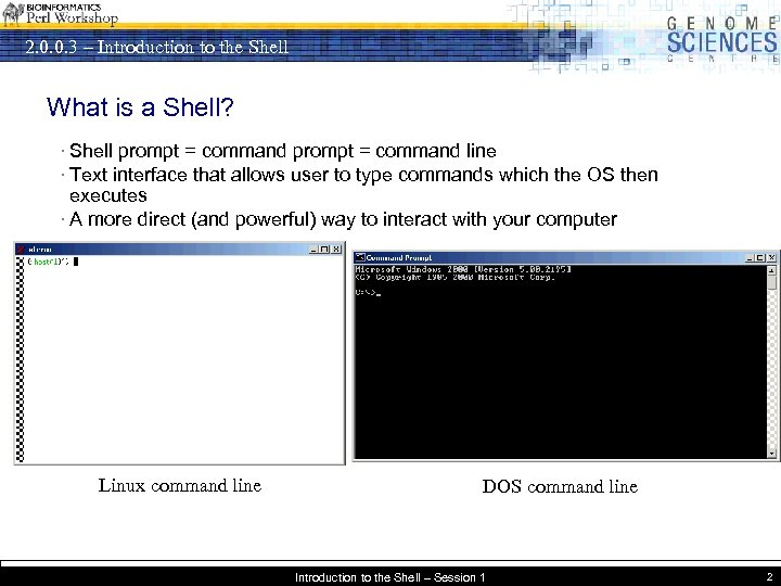 2. 0. 0. 3 – Introduction to the Shell What is a Shell? ·