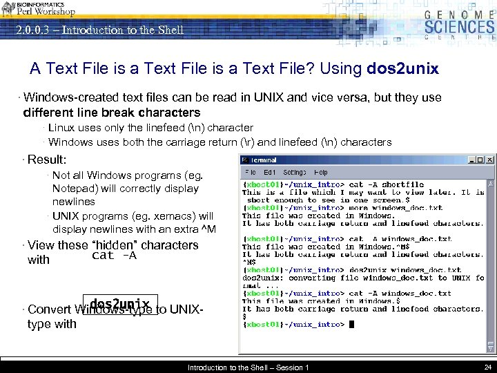 2. 0. 0. 3 – Introduction to the Shell A Text File is a