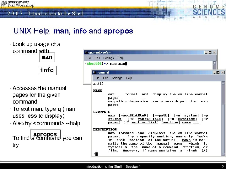 2. 0. 0. 3 – Introduction to the Shell UNIX Help: man, info and