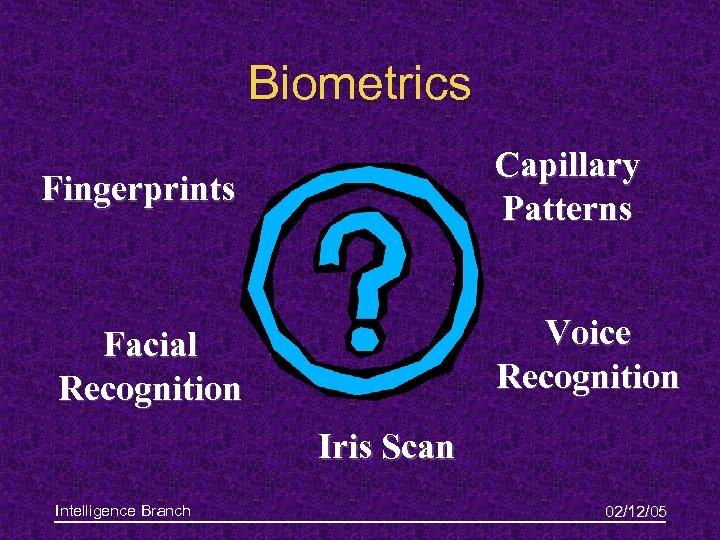 Biometrics Capillary Patterns Fingerprints Voice Recognition Facial Recognition Iris Scan Intelligence Branch 02/12/05