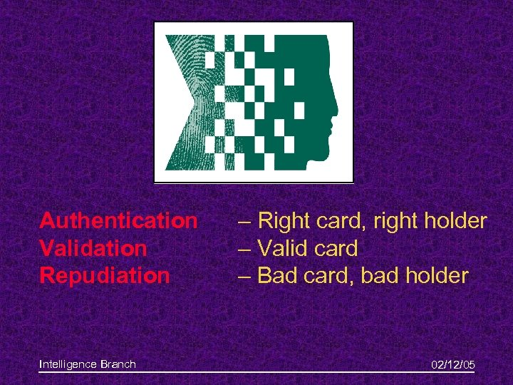 Authentication Validation Repudiation Intelligence Branch – Right card, right holder – Valid card –