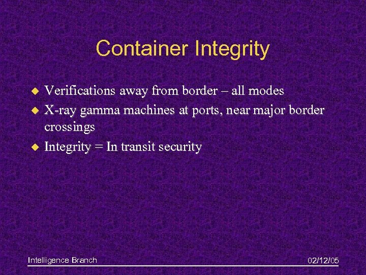 Container Integrity u u u Verifications away from border – all modes X-ray gamma
