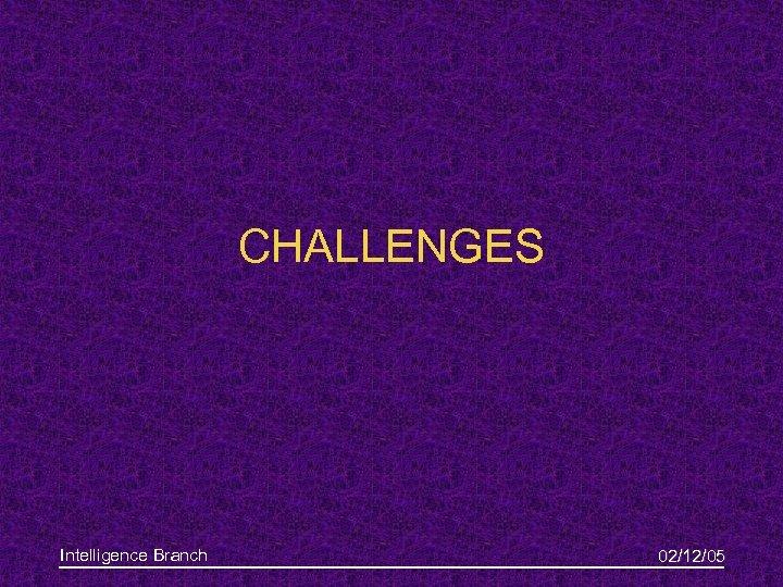CHALLENGES Intelligence Branch 02/12/05