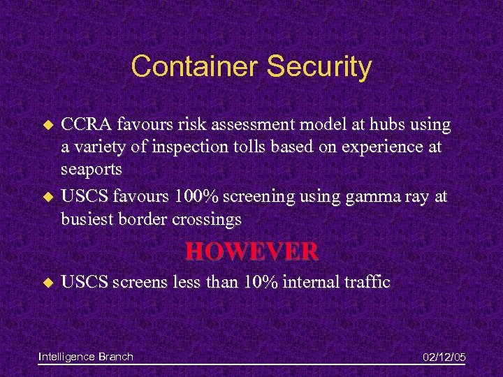 Container Security u u CCRA favours risk assessment model at hubs using a variety