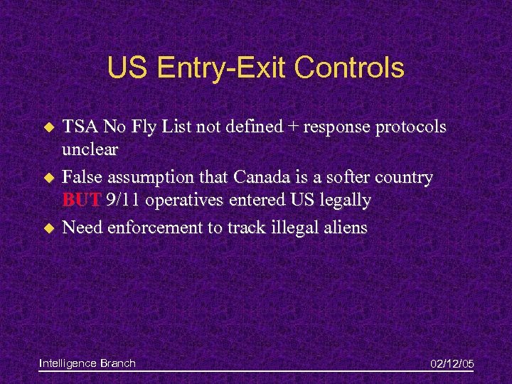 US Entry-Exit Controls u u u TSA No Fly List not defined + response
