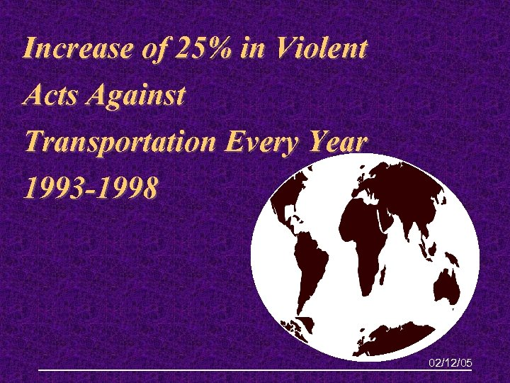 Increase of 25% in Violent Acts Against Transportation Every Year 1993 -1998 02/12/05