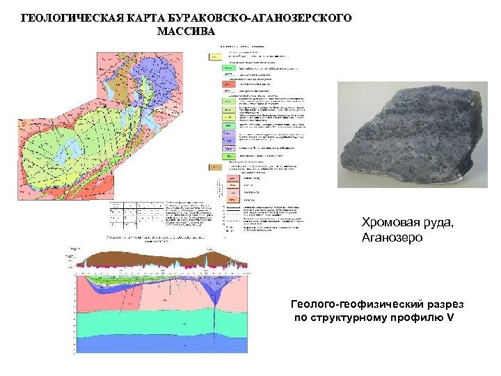 ГЕОЛОГИЧЕСКАЯ КАРТА БУРАКОВСКО-АГАНОЗЕРСКОГО МАССИВА Хромовая руда, Аганозеро Геолого-геофизический разрез по структурному профилю V