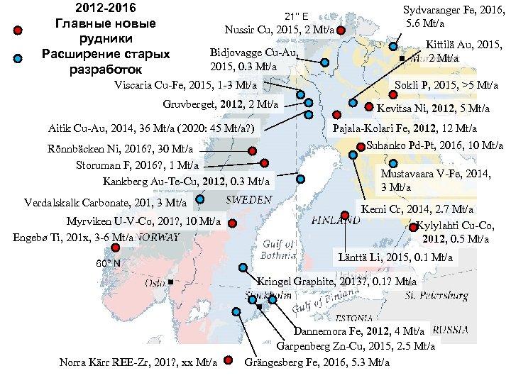 2012 -2016 Главные новые рудники Расширение старых разработок Nussir Cu, 2015, 2 Mt/a Sydvaranger