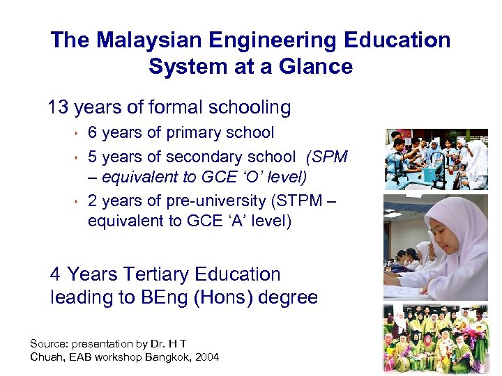 The Malaysian Engineering Education System at a Glance 13 years of formal schooling 8