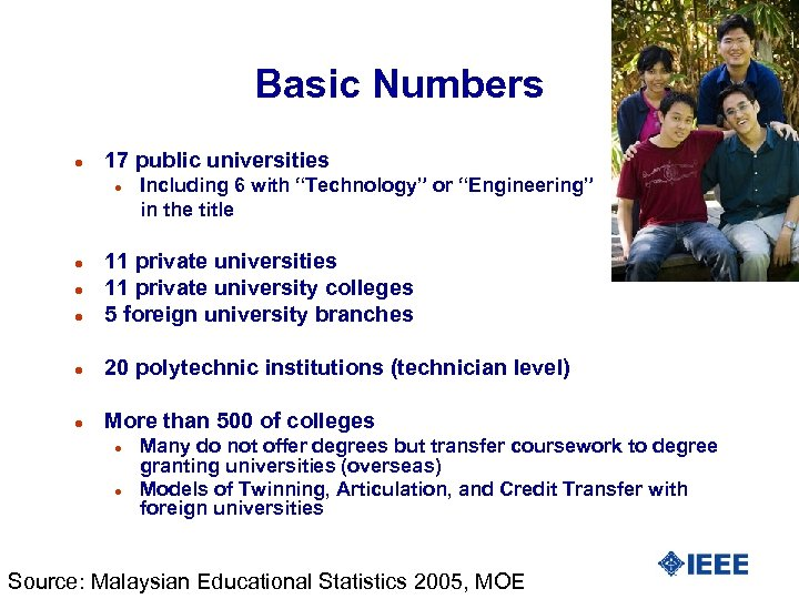 """Basic Numbers l 17 public universities l Including 6 with """"Technology"""" or """"Engineering"""" in"""
