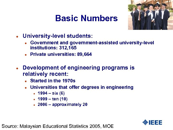 Basic Numbers l University-level students: l l l Government and government-assisted university-level institutions: 312,