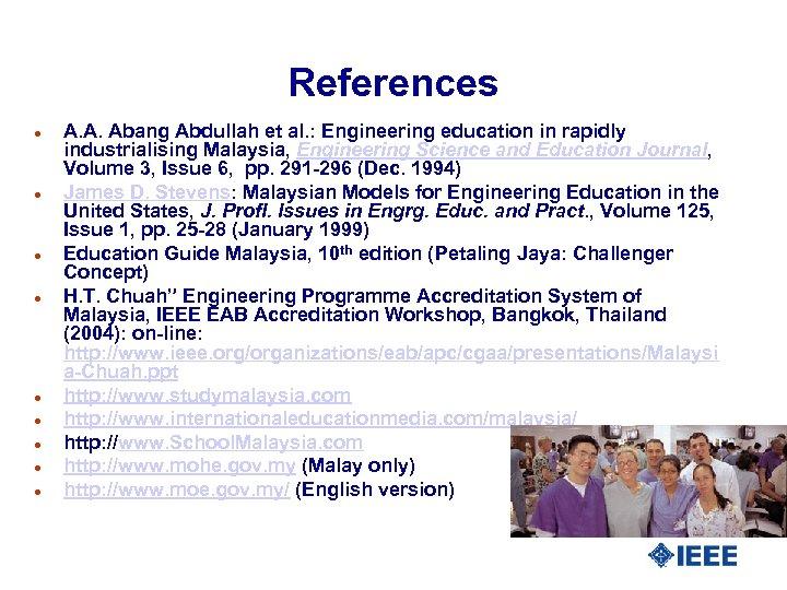 References l l l l l A. A. Abang Abdullah et al. : Engineering