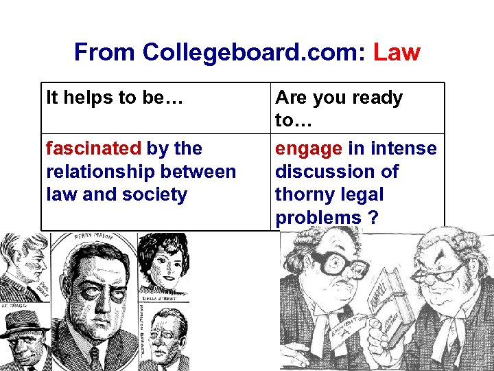 From Collegeboard. com: Law It helps to be… fascinated by the relationship between law