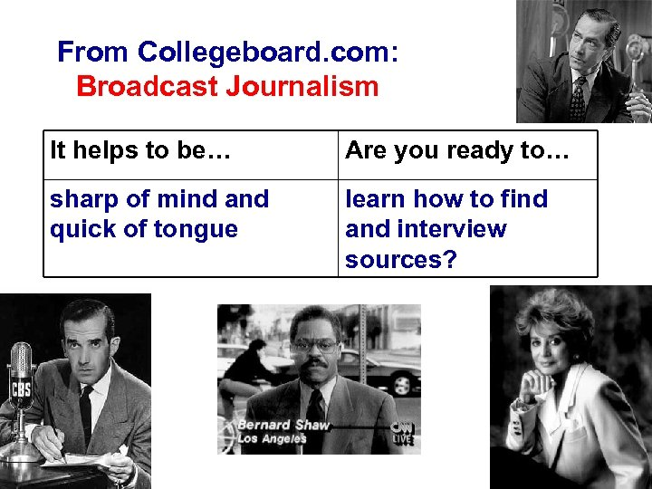 From Collegeboard. com: Broadcast Journalism It helps to be… Are you ready to… sharp