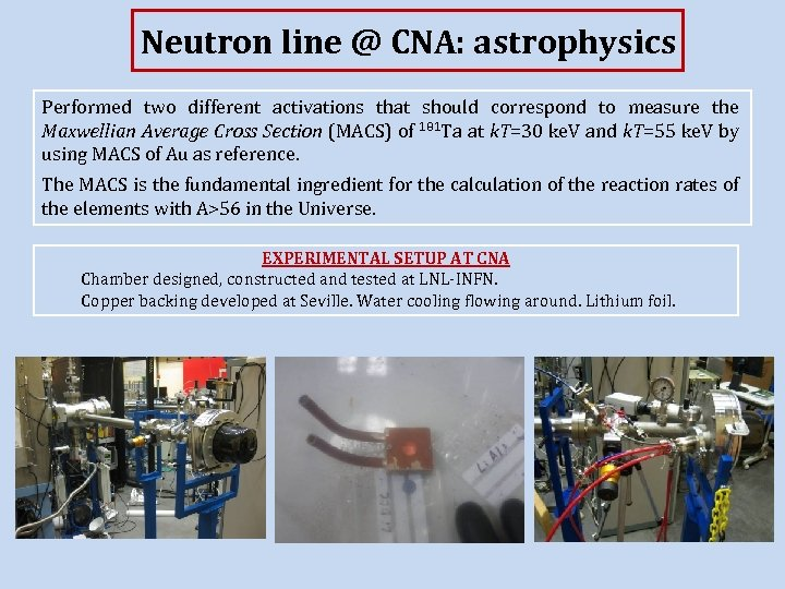 Neutron line @ CNA: astrophysics Performed two different activations that should correspond to measure