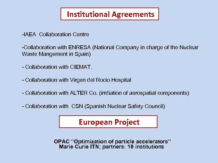 Institutional Agreements -IAEA Collaboration Centre -Collaboration with ENRESA (National Company in charge of the