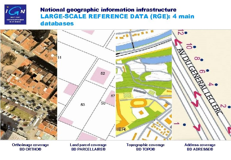 National geographic information infrastructure LARGE-SCALE REFERENCE DATA (RGE): 4 main databases Orthoimage coverage BD