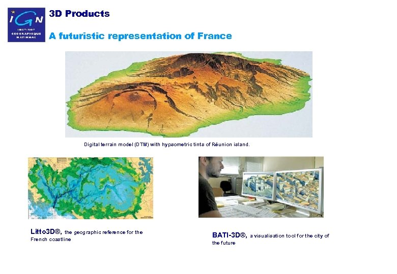 3 D Products A futuristic representation of France Digital terrain model (DTM) with hypsometric