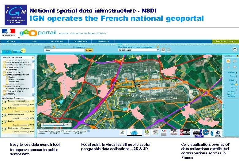 National spatial data infrastructure - NSDI IGN operates the French national geoportal Easy to