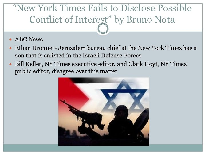 """""""New York Times Fails to Disclose Possible Conflict of Interest"""" by Bruno Nota ABC"""