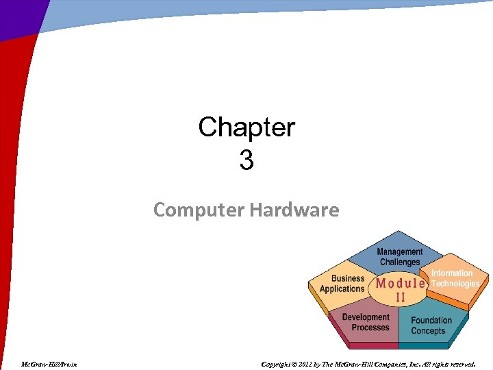 Chapter 3 Computer Hardware Mc. Graw-Hill/Irwin Copyright © 2011 by The Mc. Graw-Hill Companies,