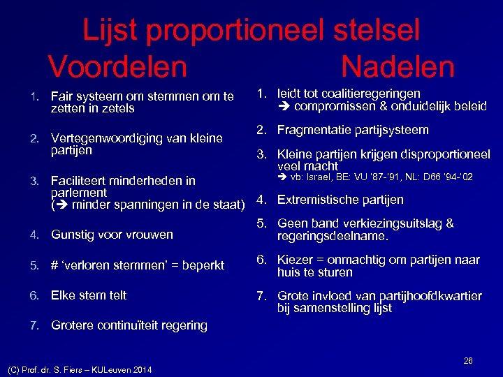 Lijst proportioneel stelsel Voordelen Nadelen 1. Fair systeem om stemmen om te zetten in