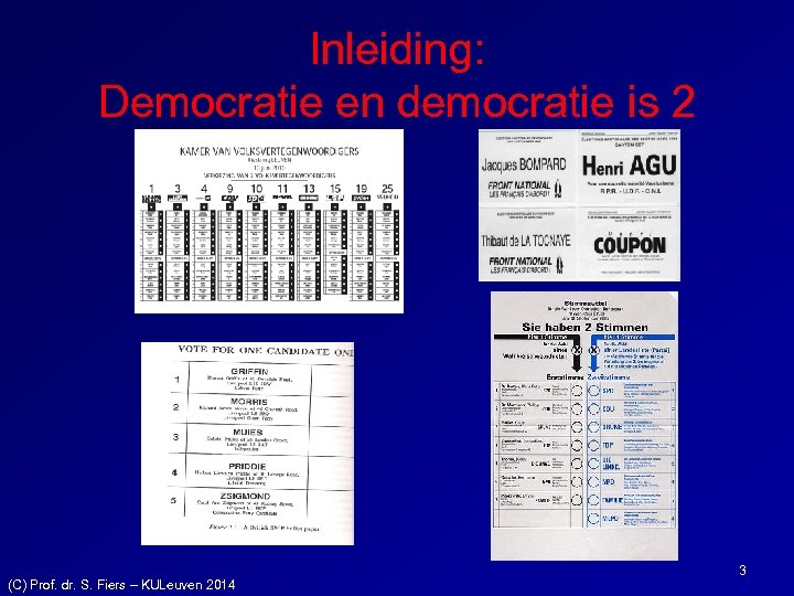 Inleiding: Democratie en democratie is 2 (C) Prof. dr. S. Fiers – KULeuven 2014