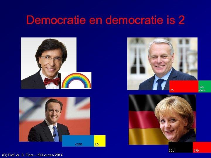 Democratie en democratie is 2 PS CONS LD CDU (C) Prof. dr. S. Fiers