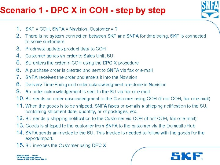 Scenario 1 - DPC X in COH - step by step 1. SKF =